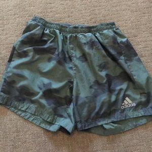 Adidas green camo shorts